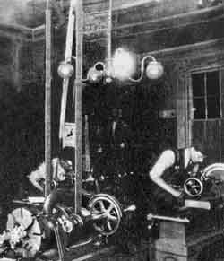 Natural gas powered machinery in Wright brothers shop.