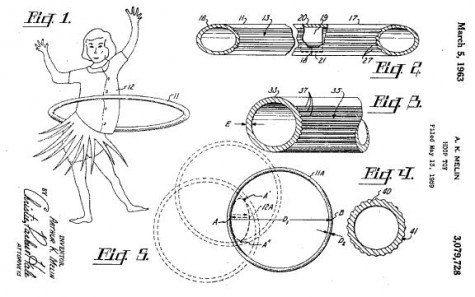 Hula hoop patent drawing for petroleum product 1963