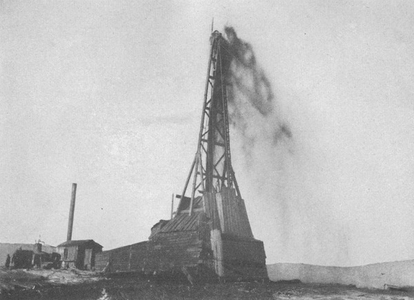 """""""Big Dutch"""" No. 1 discovery well gushing oil in Wyoming in 1908."""