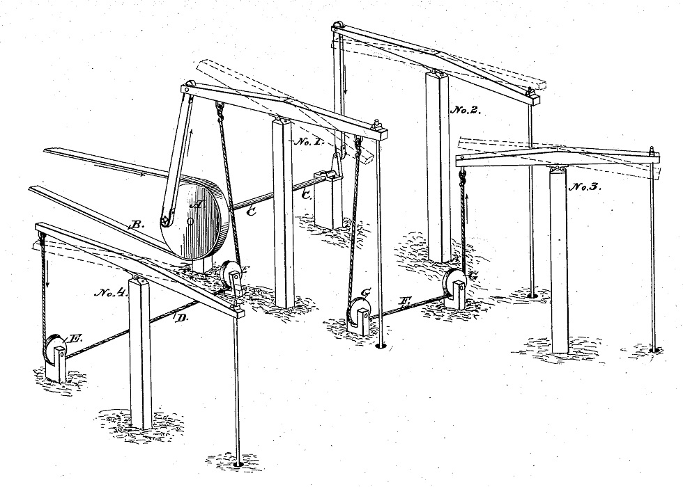 Multiple well pumping system patent drawing from 1875.