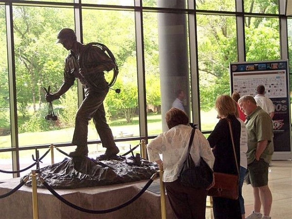"A bronze statue, ""The Doodlebugger,"" welcomes visitors to the Society of Exploration Geophysicists headquarters in Tulsa. The name is a badge of honor for geophysical crews seeking oil."