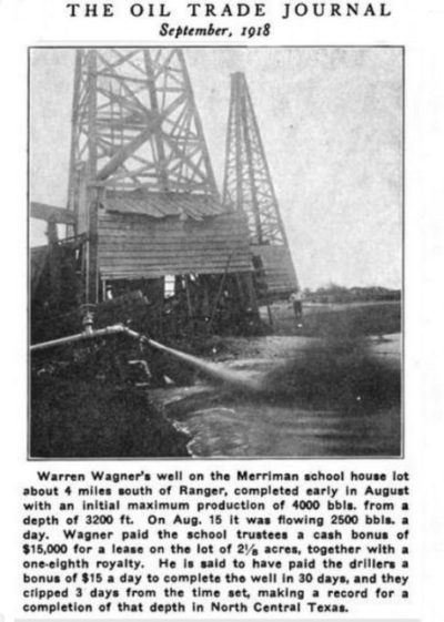 Merriman Baptist Church oil well featured in trade journal of 1918.