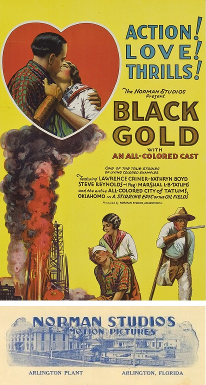 """""""Black Gold"""" movie poster of all black cast in oil well movie of 1927"""